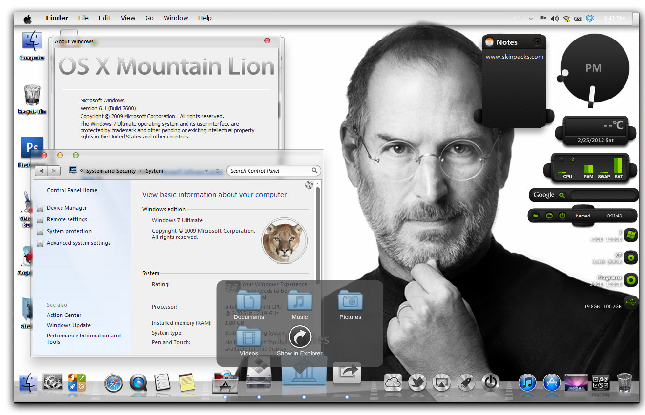 Download Mac Os X Mountain Lion Skin Pack For Windows 7