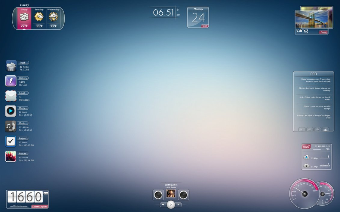 Speed rainmeter theme for Bureau windows 7 rainmeter