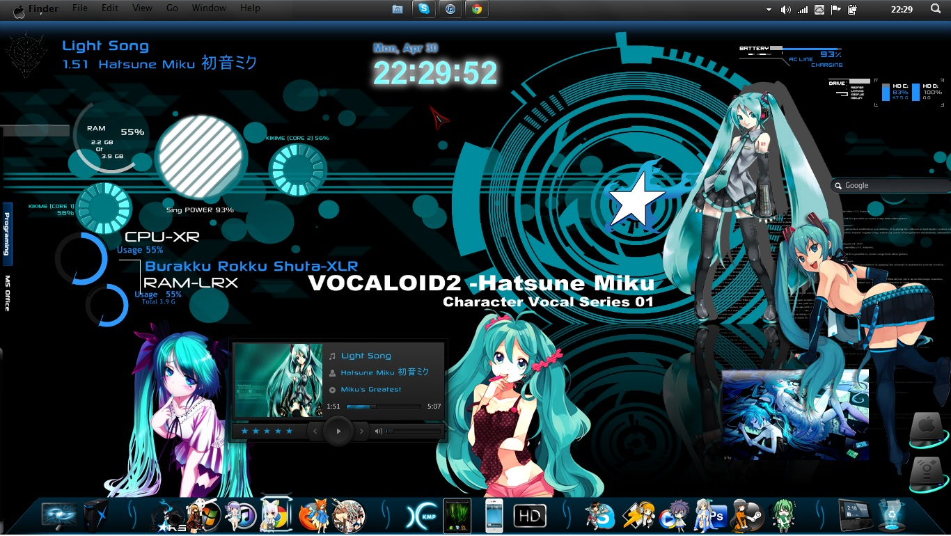 Aqua Hatsune Miku Rainmeter Theme For Windows 7