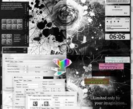 Black Flower Blossoms Rainmeter Theme For Windows 7