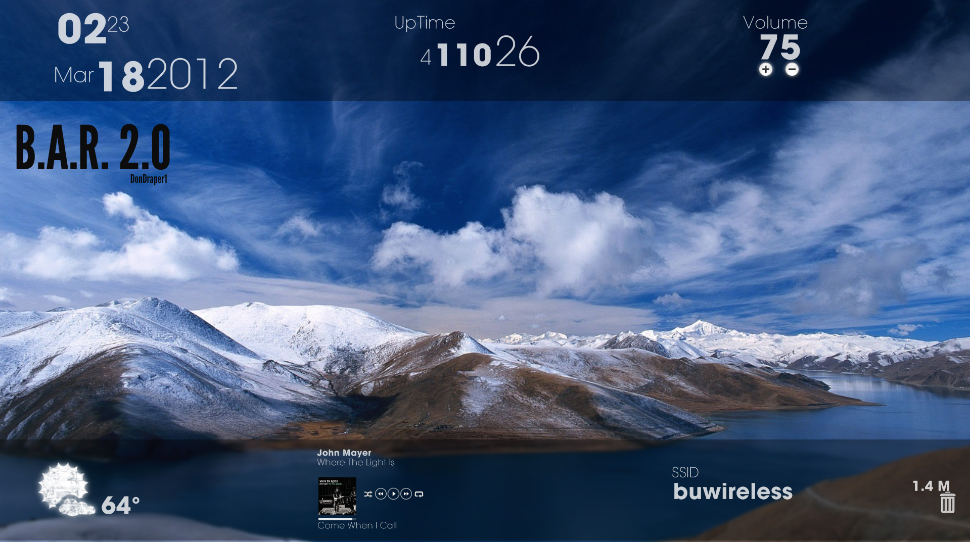 Cloudy mount rainmeter theme for windows 7 for Bureau windows 7 rainmeter