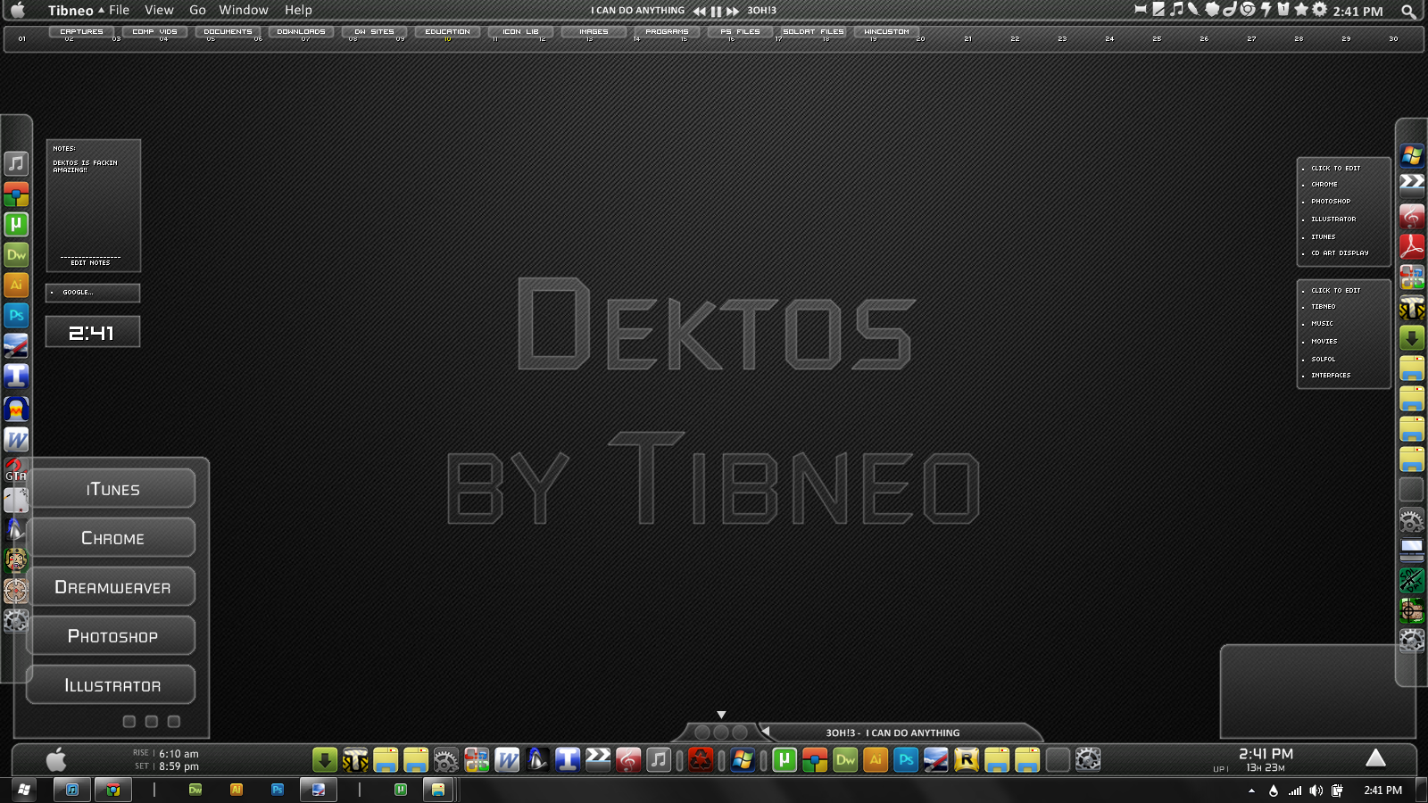 Dektos rainmeter theme for windows 7 for Bureau windows 7 rainmeter
