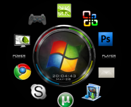 Disk Dock Black Rainmeter Theme