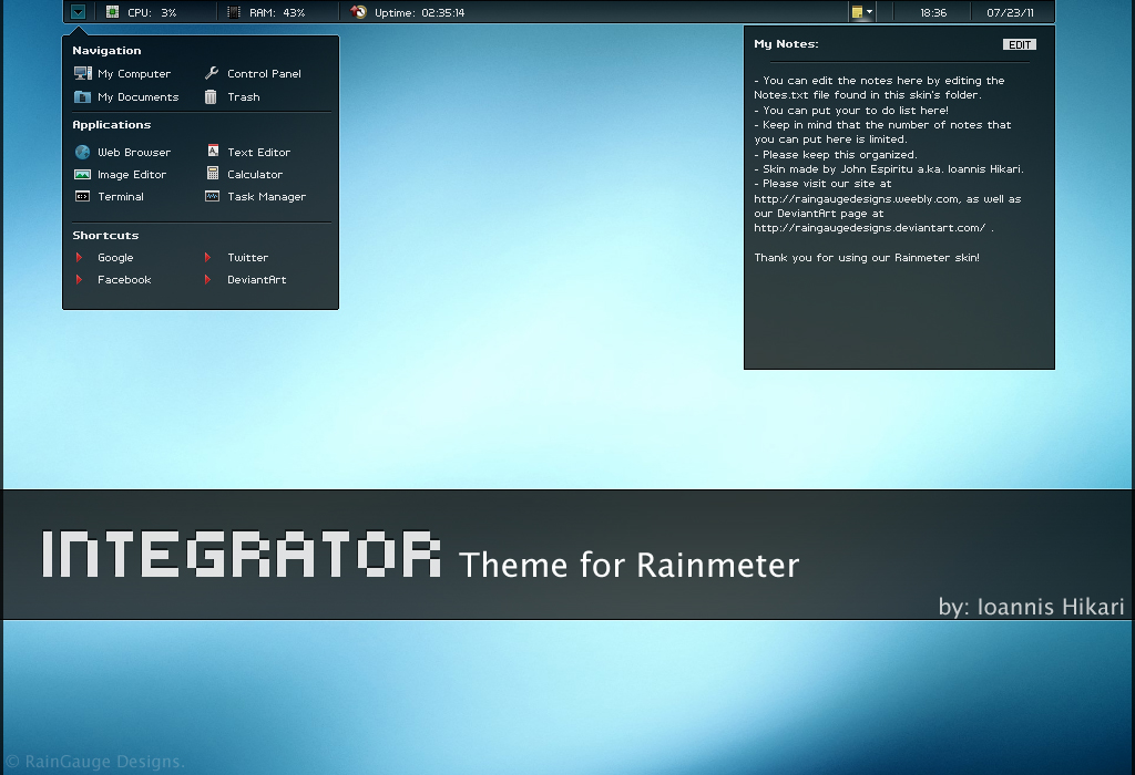 Integrator blue rainmeter theme for Bureau windows 7 rainmeter