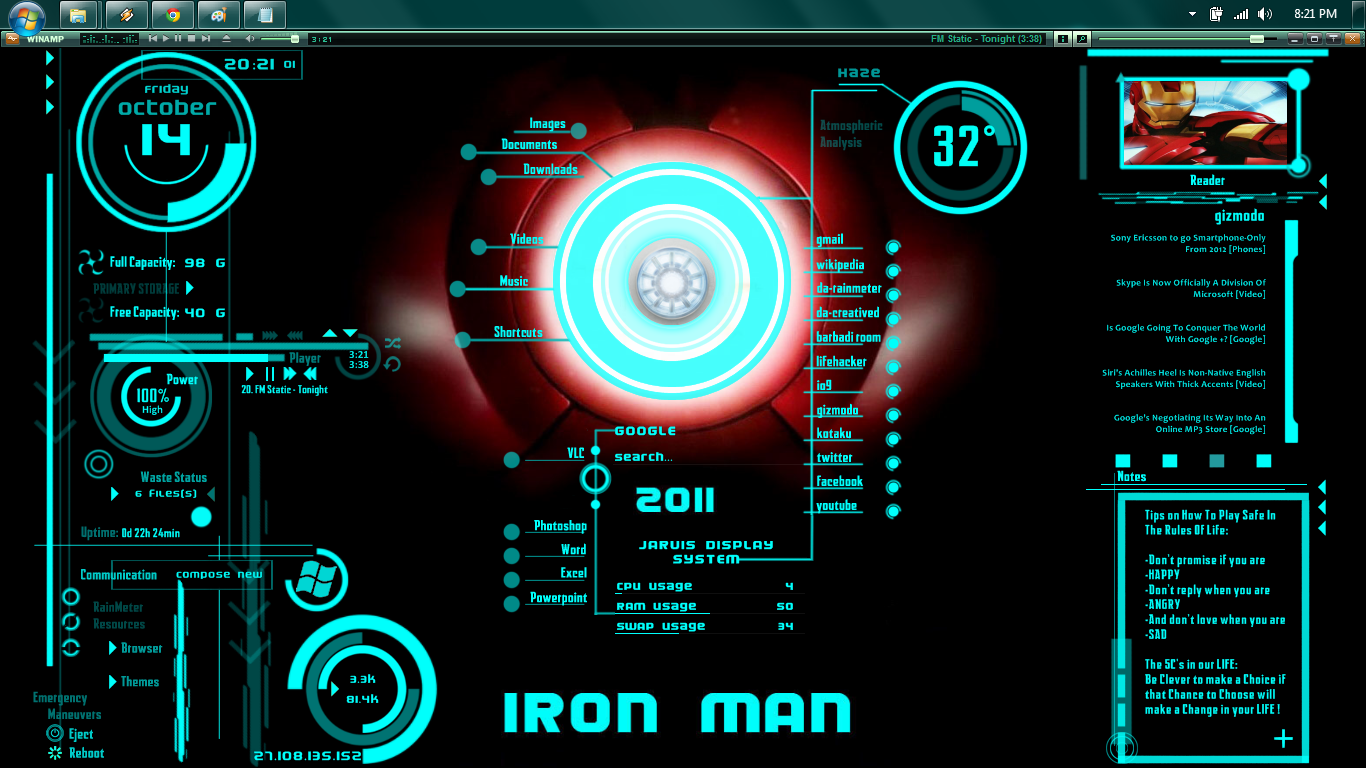 Windows Themer Iron Man Jarvis Latest Big Released