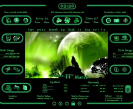 Luna Green Windows 7 Rainmeter Skin