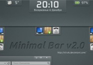 Minmal Multi Utility Bar Windows 7 Rainmeter Skin