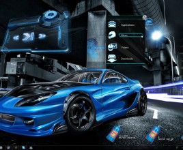 NFS Blue Car Rainmeter Skin