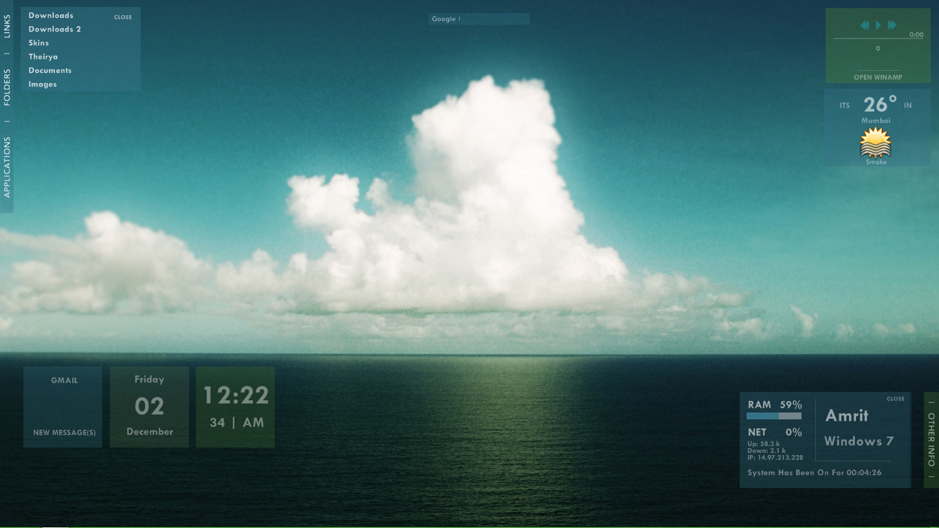 Sea clouds windows 7 rainmeter skin for Bureau windows 7 rainmeter