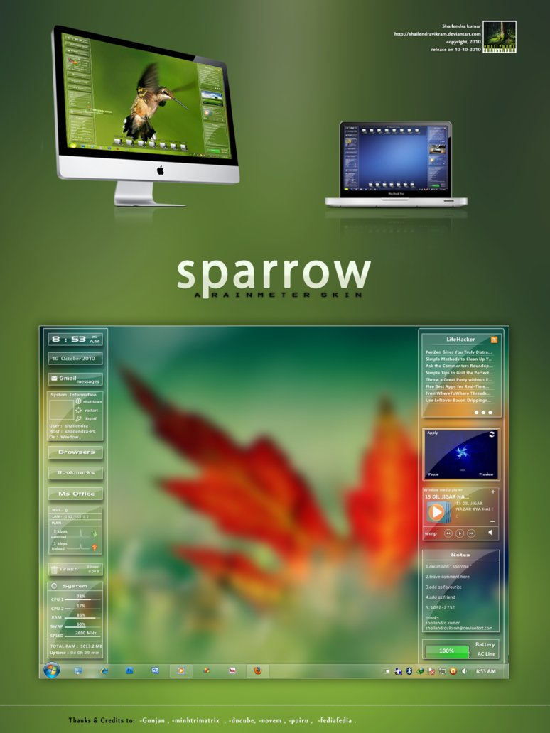 Sparrow windows 7 rainmeter skin for Bureau windows 7 rainmeter