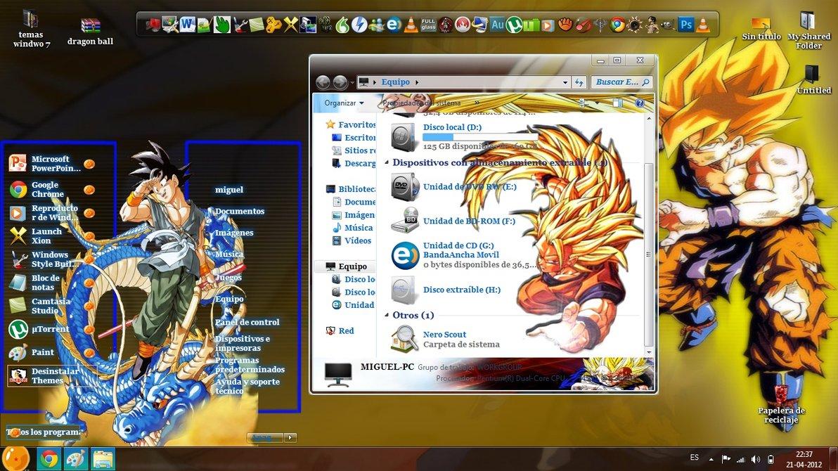Tema de dragon ball theme for windows 7