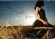 Girl in Field Rainmeter Skins