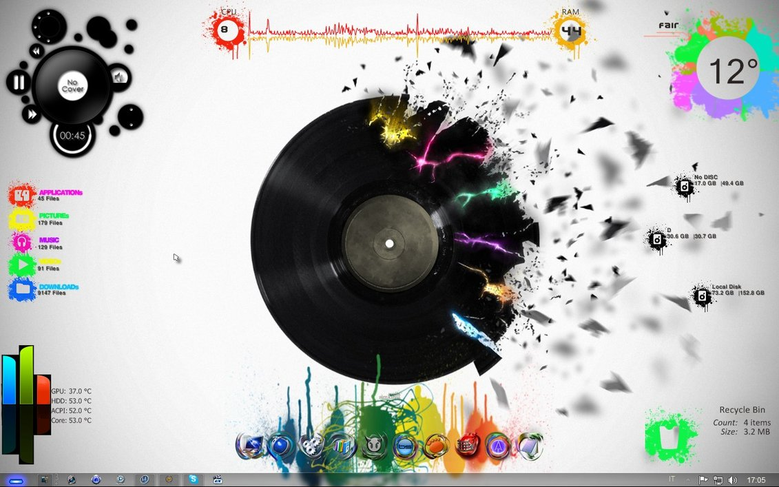 Graffitti rainmeter skin for Bureau windows 7 rainmeter
