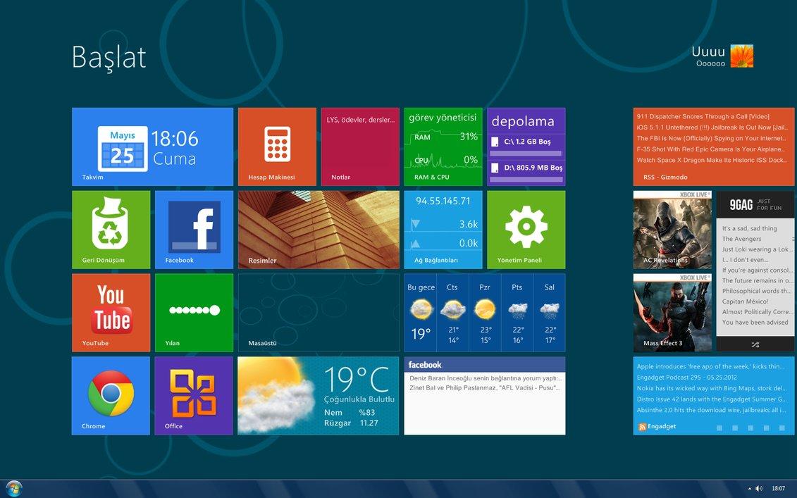 Windows 8 Theme Rainmeter