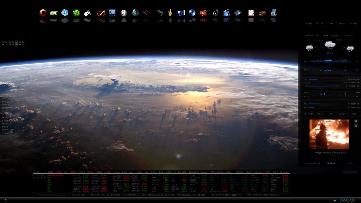 Rainrocket rainmeter skin for Bureau windows 7 rainmeter