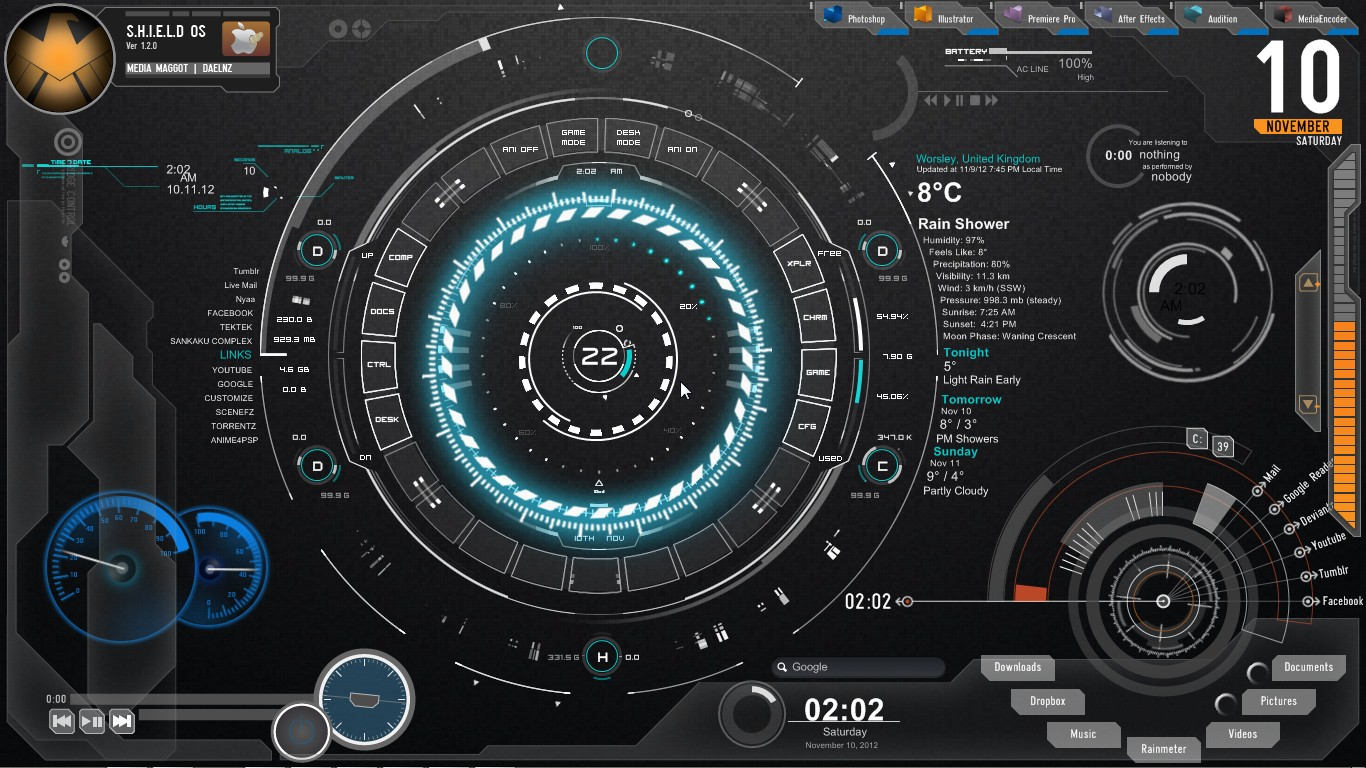 Jarvis rainmeter skin download free gamesupply for Bureau windows 7 rainmeter