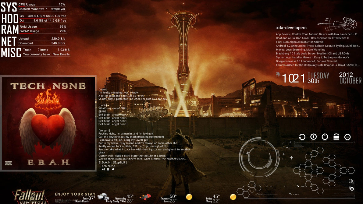 New vegas windows7 rainmeter theme for Bureau windows 7 rainmeter