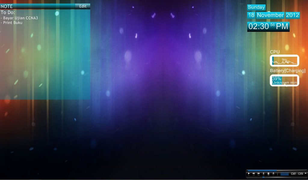 Vanila blue rainmeter skin for windows7 for Bureau windows 7 rainmeter