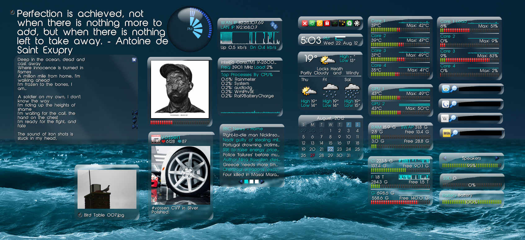 Cobolt rainmeter theme for windows7 for Bureau windows 7 rainmeter