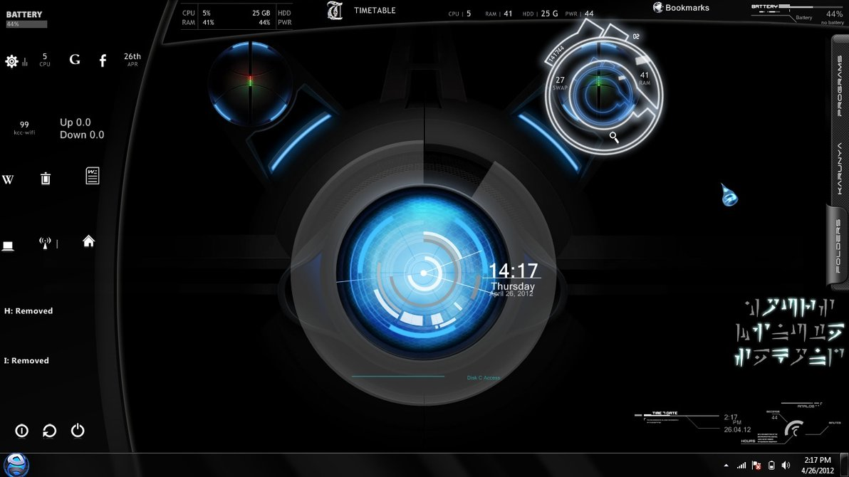 Blue planet rainmeter theme for windows7 for Bureau windows 7 rainmeter