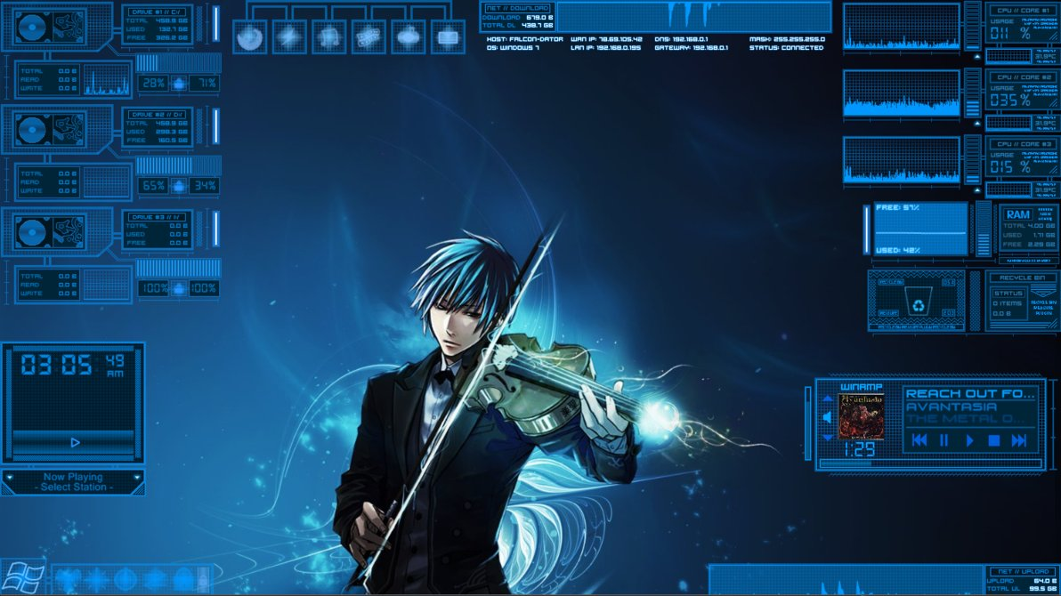 Digital space rainmeter theme for windows7 for Bureau windows 7 rainmeter