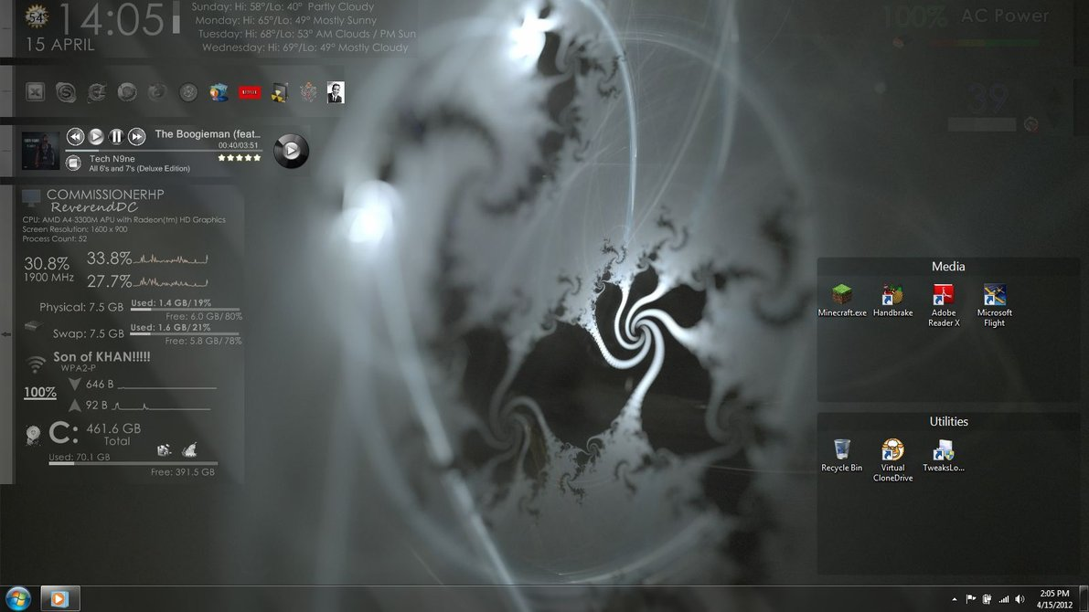 Hidden trays windows7 rainmeter theme for Bureau windows 7 rainmeter
