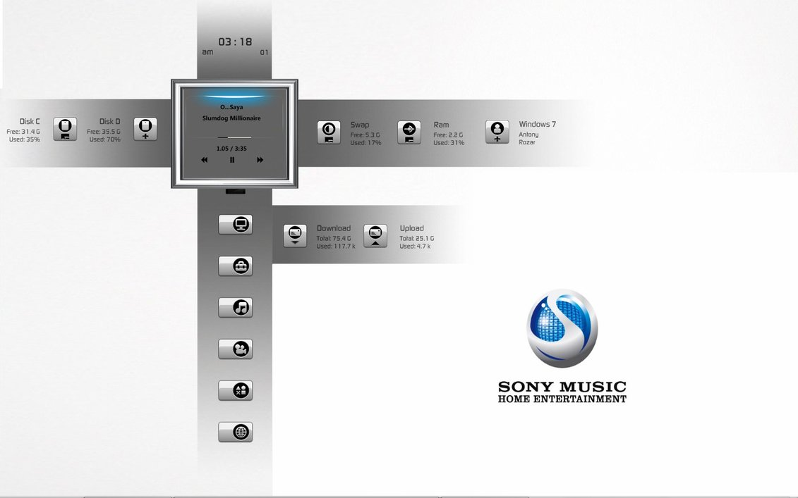 Sony music rainmeter theme for windows7 for Bureau windows 7 rainmeter