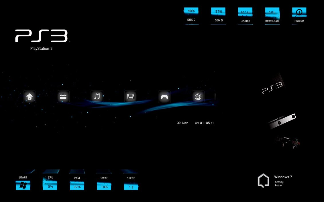 Sony ps3 windows7 rainmeter theme for Bureau windows 7 rainmeter