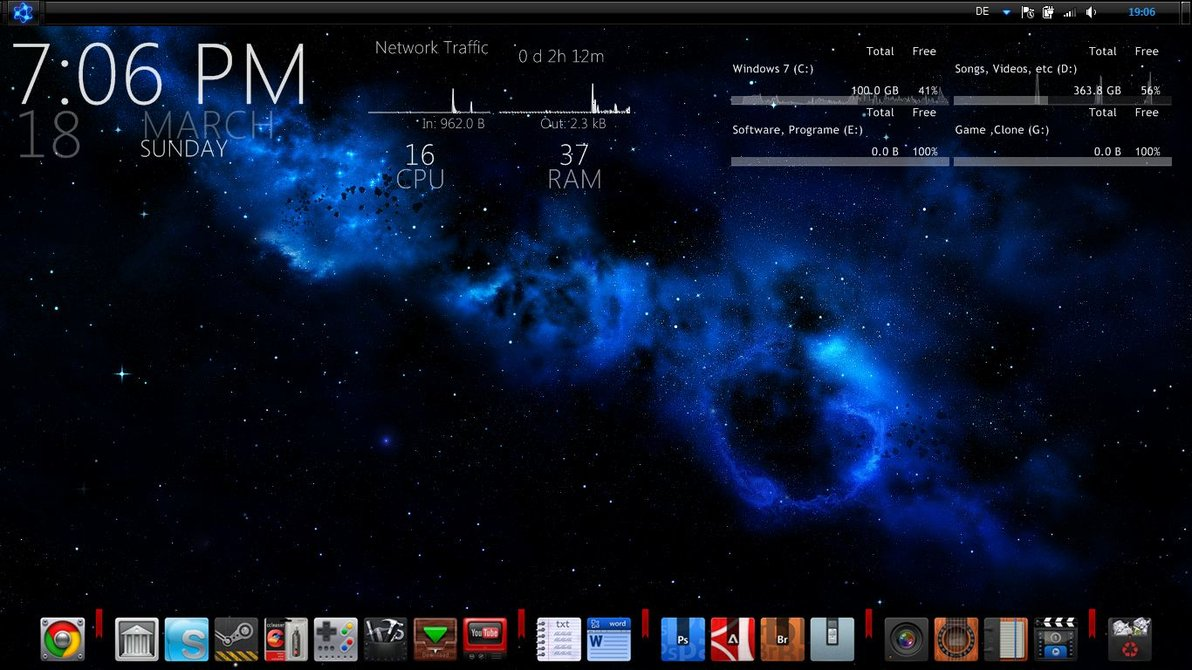 Space windows7 rainmeter theme for Bureau windows 7 rainmeter