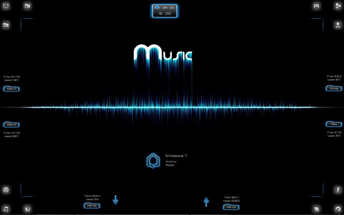 Spectrum music rainmeter theme for windows7 for Bureau windows 7 rainmeter