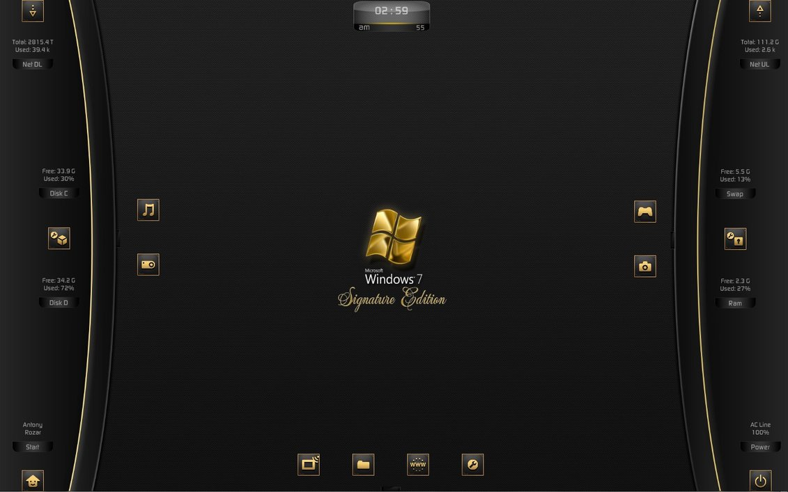 Win7en rainmeter theme for windows7 for Bureau windows 7 rainmeter