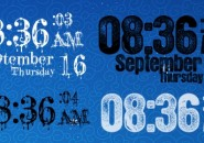 Grunge Clock Blued Windows 7 Rainmeter Skin