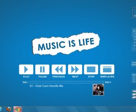 Music Is Life Blued Windows 7 Rainmeter Skin