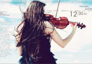 Girl Playing Violin Rainmeter Skins