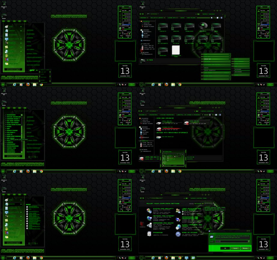 Alien corp windows7 rainmeter theme for Bureau windows 7 rainmeter