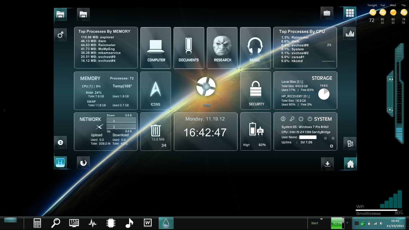 Blue rainbow streak windows7 rainmeter theme for Bureau windows 7 rainmeter