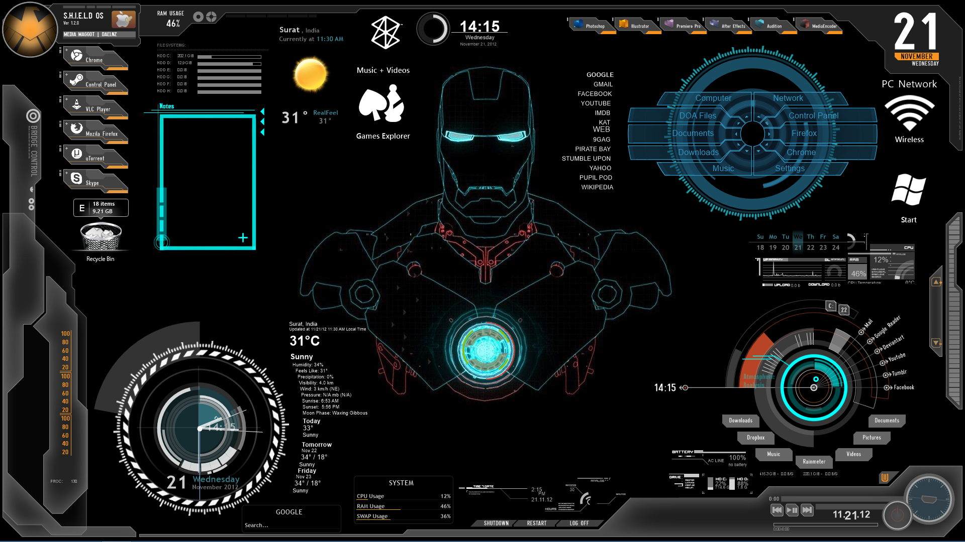 Ironman1 windows7 rainmeter theme for Bureau windows 7 rainmeter
