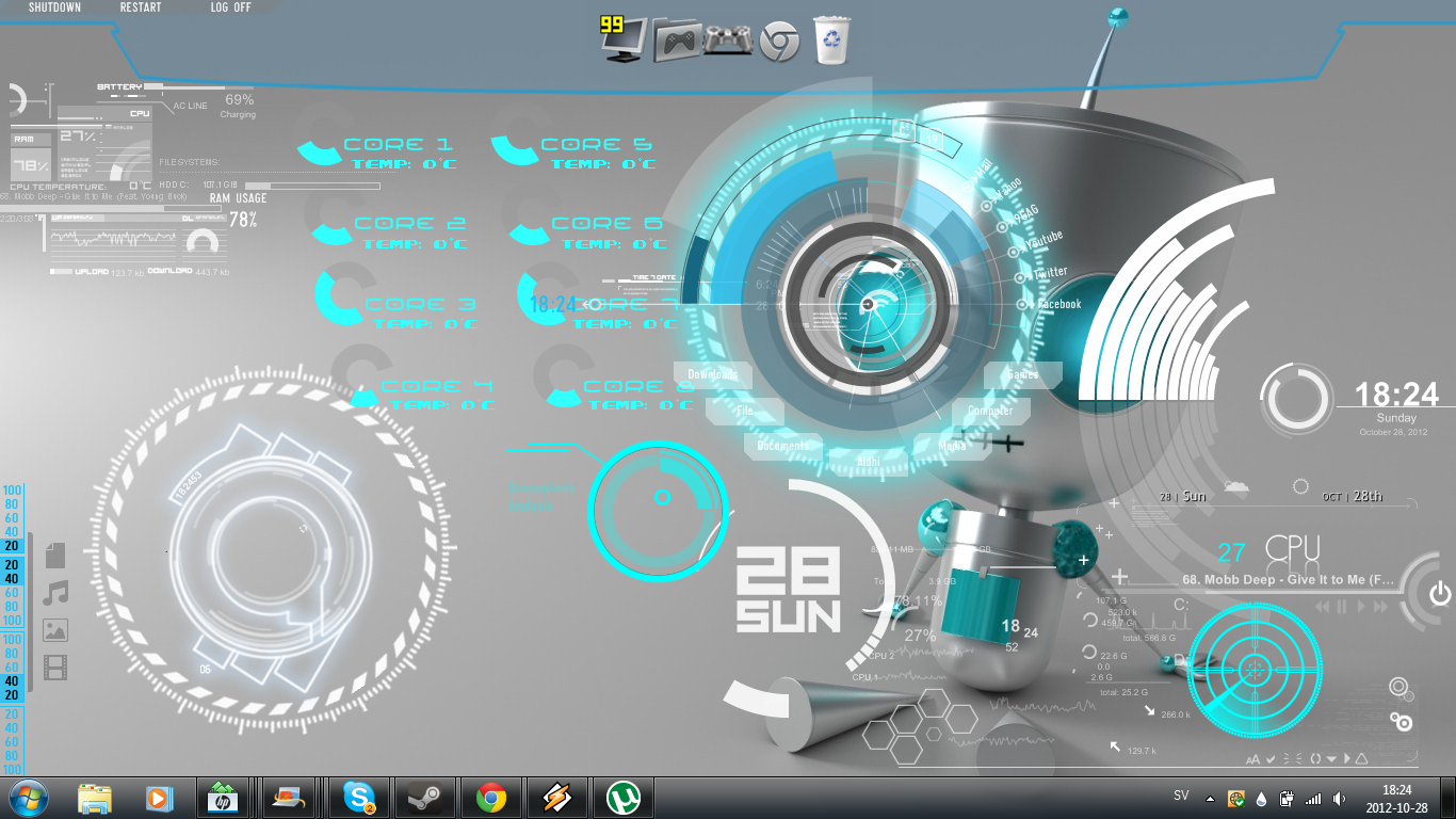 Supra robot rainmeter theme for windows7 for Bureau windows 7 rainmeter