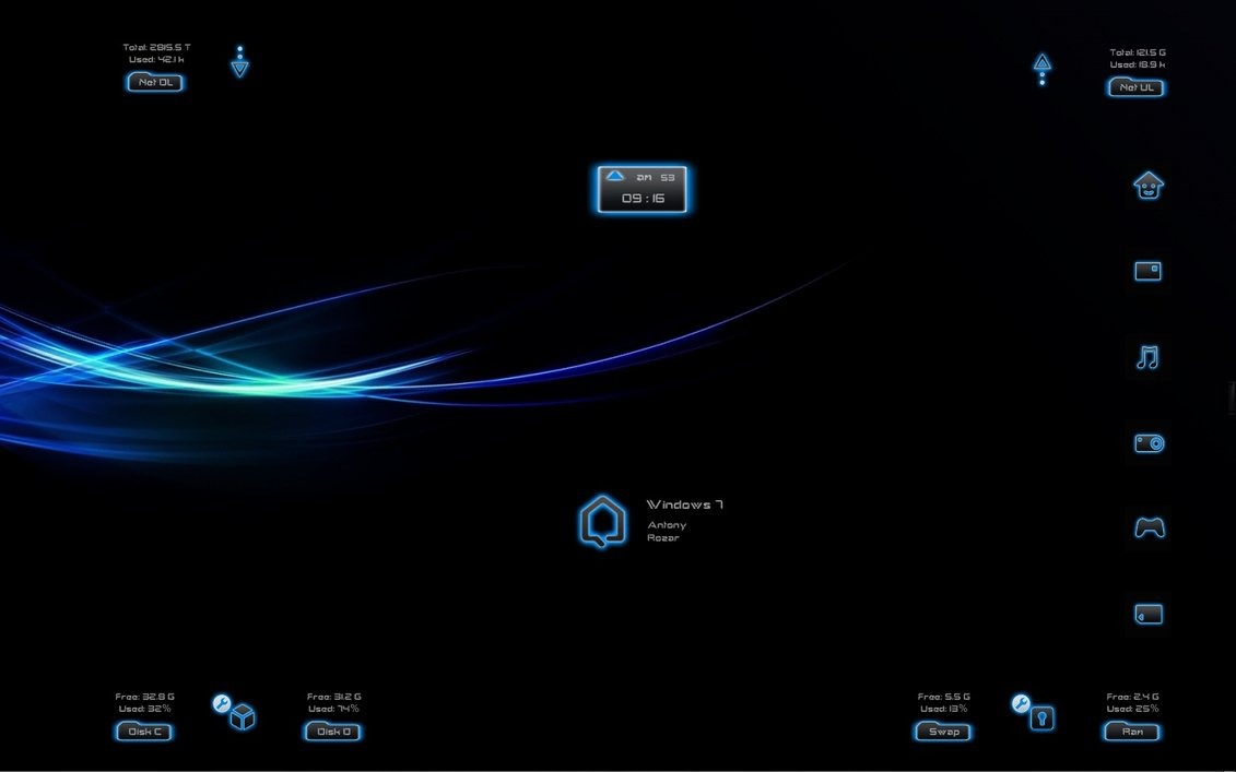 Dark neon windows7 rainmeter theme for Bureau windows 7 rainmeter